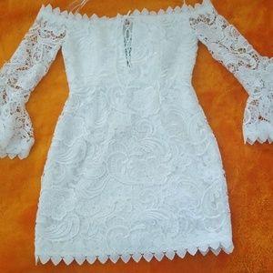 Luxxel White lace Med. cocktail bachelorette dress